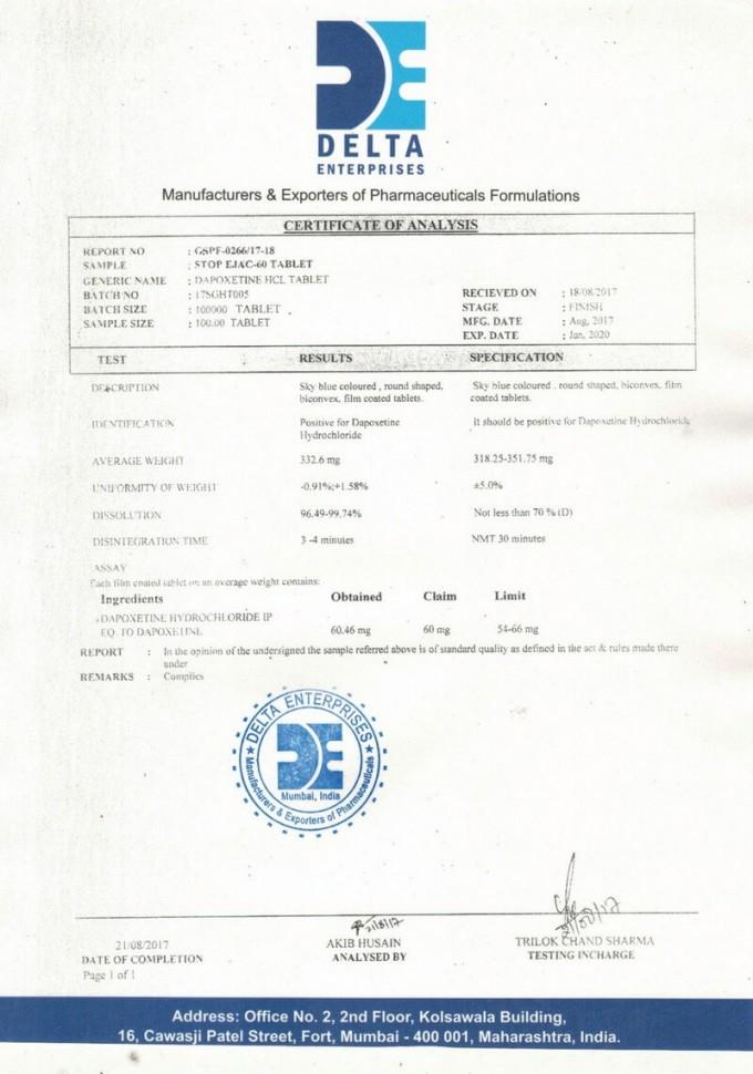 Сертификат Дапоксетин 60