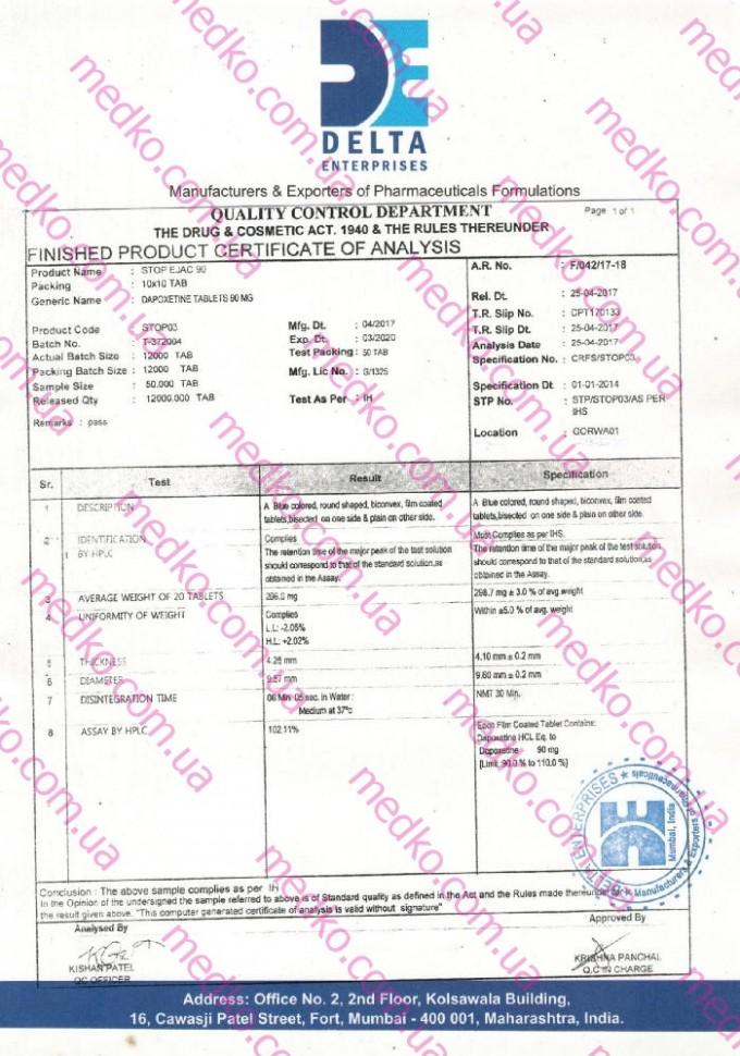 Сертификат Дапоксетин 90
